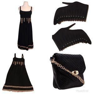 New Ann Taylor Loft Black Silk  + Lace Dress 0